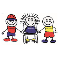 stick people holding hands, one using a wheelchair.