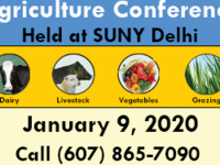 Catskill Regional Agriculture Conference held at SUNY Delhi. Dairy, Livestock, Vegetable, and Grazing topics. Jan 9 2020. Call (607) 865-6531 or visit ccedelaware.org contains icon of dairy cow, beef with sheep, mixed vegetables, and blades of grass