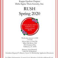 Delta Sigma Theta Sorority, Inc. Kappa Epsilon Chapter Spring 2020  Rush