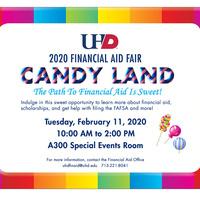 2020 Financial Aid Fair flyer. Candy Land theme