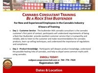 CANNABIS CONSULTANT TRAINING  BE A ROCK STAR BUDTENDER