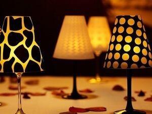 wine glass tea lamps