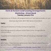 Farm And Pasture Land Leasing Arrangements Workshop-Great Bend