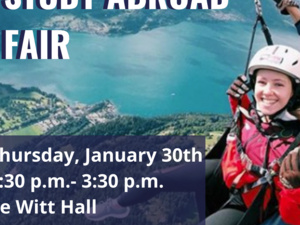 Study Abroad Fair: Thursday, January 30th from 1:30 - 3:30 pm, de Witt Hall; Lasell social media handles for Instagram, Twitter, Facebook