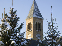 Image of McGraw Tower in winter.