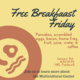 Breafast food on a plate with Free Breakfast Friday event details
