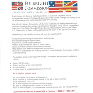Fulbright UK Scholarships for US Students - Freshman & Sophomore