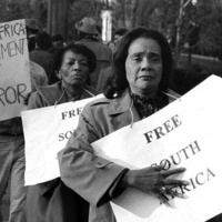 Coretta Scott King marching for South Africa