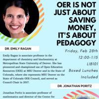 Open Education Resources presenters Dr. Emily Ragan and Dr. Jonathan Portitz