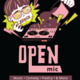 illustration of a character dumping coffee on a turntable with zaps text reading: Open Mic: music, comedy, poetry, and more