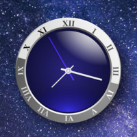 Image of a clock in front of a starry background
