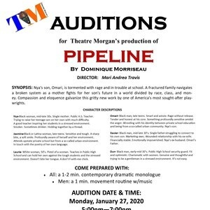 AUDITIONS for Theatre Morgan's production of PIPELINE