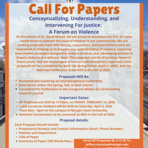 CALL FOR PAPERS: A Forum on Violence