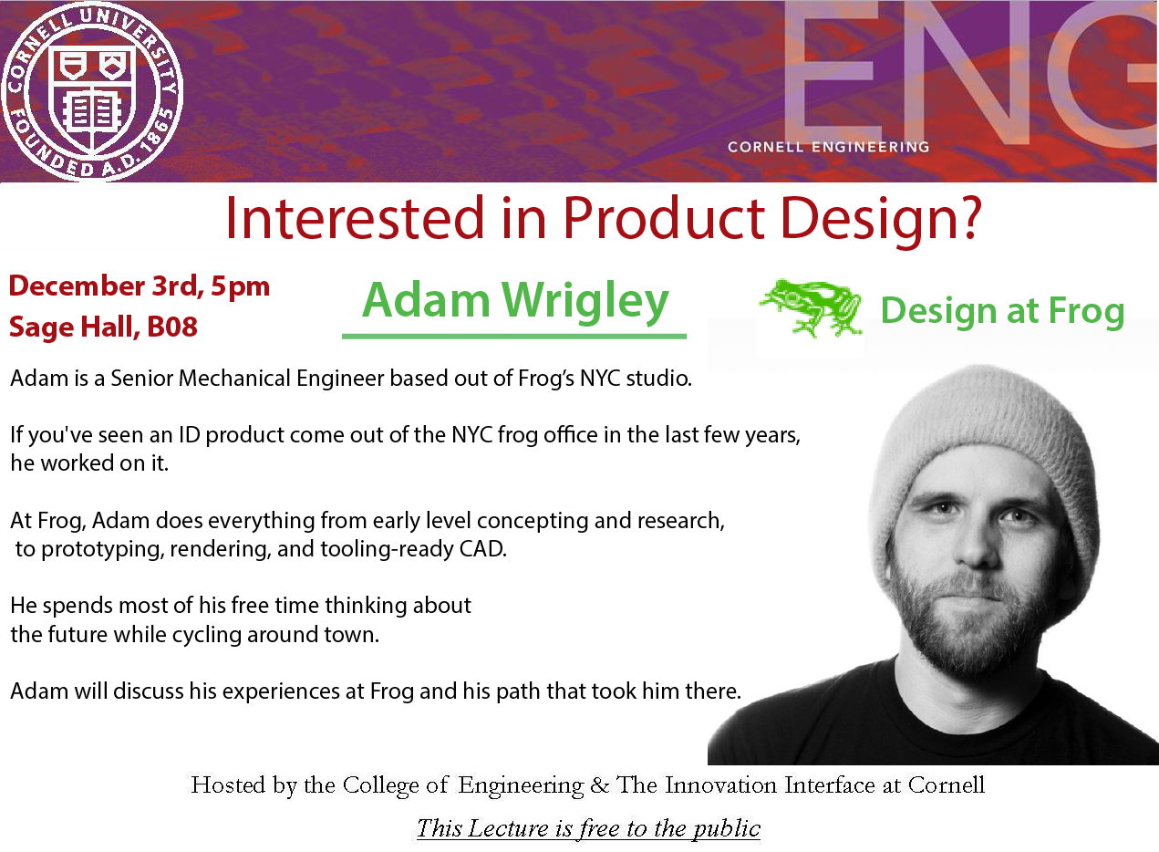 Interested in Product Design? Lecture, Adam Wrigley