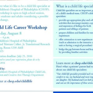 Children's Hospital of Pennsylvania - Child Life Career Workshop