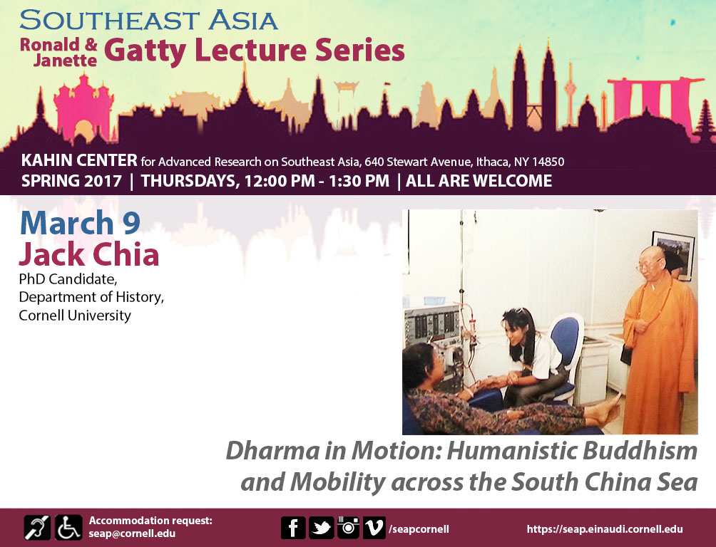 """SEAP Gatty Lecture Series: """"Dharma in Motion: Buddhism and Mobility across the South China Sea"""""""