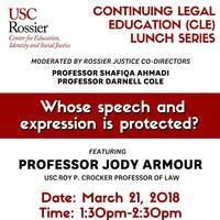Continuing Legal Education Lunch Conversation: Whose speech and expression is protected?