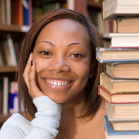library young woman with books study smile