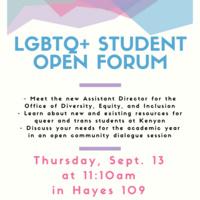 LGBTQ+ Student Open Forum