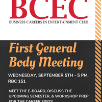 BCEC General Meeting | Business Careers in Entertainment Club