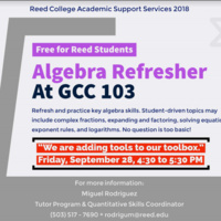 Algebra Refresher Workshop