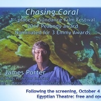 """Dr. James Porter to speak on """"Chasing Coral"""" after screening"""