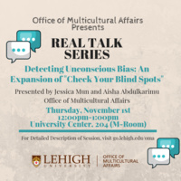 "Real Talk Series: An expansion of ""check your blind spots""