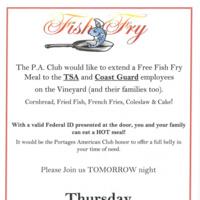 Free Fish Fry for TSA & Coast Guard