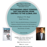 Professor T.V. Paul: Restraining Great Powers: Soft Balancing from Empires to the Global Era