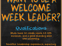 Welcome Week Leader Applications Open