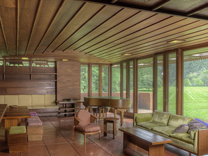 interior view of living room area of wood frame house