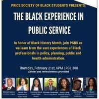 Price Society of Black Students Presents: The Black Experience in Public Service