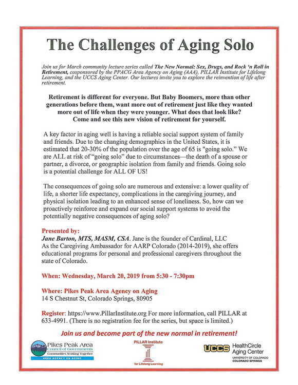 Cms Calendar 2014-2019 The Challenges of Aging Solo   UCCS Events Calendar