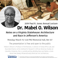 Paul R. Jones Annual Lecture: Dr. Mabel O. Wilson