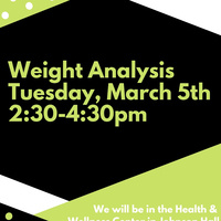 Weight Analysis Tues, 3/5 2:30pm