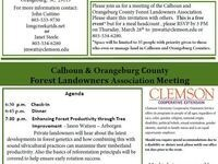 Calhoun & Orangeburg County Forest Landowners Assoc. Meeting