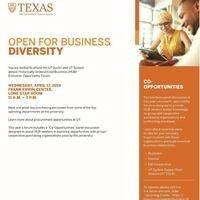 """UT Austin and UT System """"Open for Business Diversity"""" HUB Vendor Forum"""