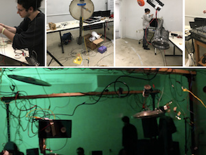 A collage of photos showing various students working on projects, and a photo of the large space where a concert is going on
