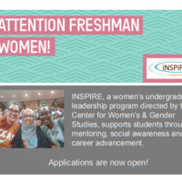 Attention Freshman Women: Applications for INSPIRE now open