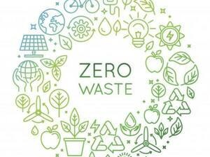 poster with graphic design and the words 'zero waste'