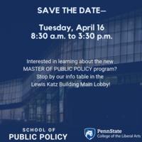 Public Policy Info Table Lewis Katz Building