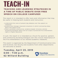 Teach-In: Teaching and Learning Strategies in a Time of Public Debate Over Free Speech on College Campuses