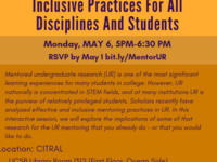 Mentoring Undergraduate Research: Inclusive Practices for All Disciplines and Students