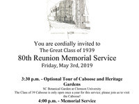 The Great Class of 1939 80th Reunion Memorial Service