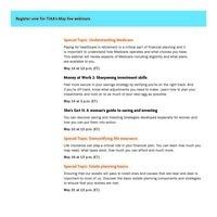 Wellness:  TIAA Live Webinars