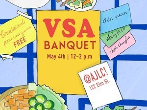 colorful poster announcing vietnamese banquet